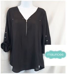Maurices Chiffon Blouse w/Silver Detailing